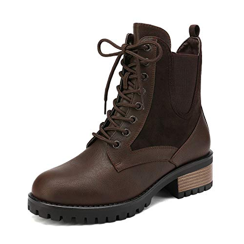DREAM PAIRS Women's Brown Military Lace Up Combat Boots Chelsea Ankle Booties Size 9 B(M) US Jammie-1