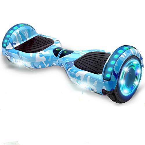 HappyBoard Hoverboard 6.5'' Patinete Eléctrico Bluetooth Monopatín Scooter autobalanceado, Ruedas de Skate con luz LED, Motor Bluetooth de 700W para niños y Adultos (Azul Camuflaje)