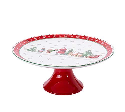 Weihnachtsgeschirr - Tortenplatte Weihnachtsmann & Kinder - Rot Weiß - ca. H11 x Ø 27 cm
