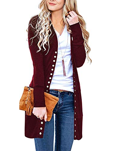Halife Womens Snap Button Down Open Front Ribbed Neckline Long Knited Cardigan Outerwear Wine Red S