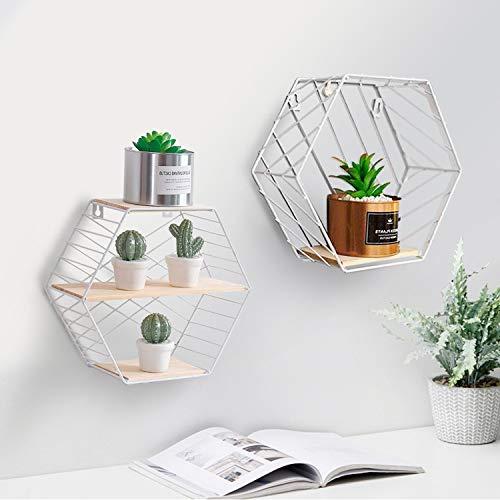 Wandregal 2er Set aus Holz und Metall Praktisch Holzregal mit Böden Natur Stil Regal Küchenregal Metallregal Hexagon Vintage (Weiß)