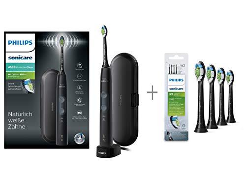 Philips Sonicare Protective Clean 4500 Elektrische Zahnbürste mit Schalltechnologie HX6830/53 & Optimal White - Aufsteckbürsten 4 Stück