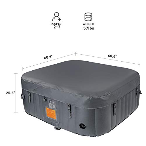 AquaSpa Portable Hot Tub 61X61X26 Inch Air Jet Spa 2-3 Person Inflatable Square Outdoor Heated Hot Tub Spa with 120 Bubble Jets, Grey, one Size (PM_SPA-P154_Grey)