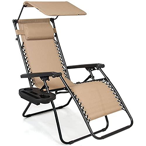 XKESBS Sillón de Patio reclinable para Exterior Plegable Zero Gravity con toldo Ajustable, reposacabezas, Bandeja de Accesorios Lateral para Silla Plegable, Malla de Textilene,Beige