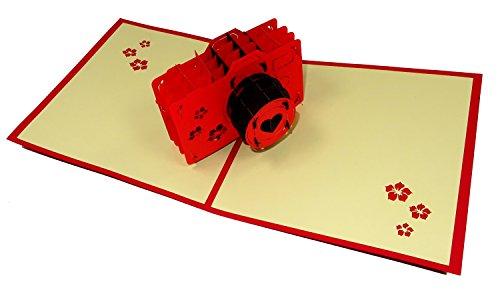 Camera Design 3D Pop Up Card Wenskaart Verjaardagskaart Fotograaf Gift (Rode Cover)