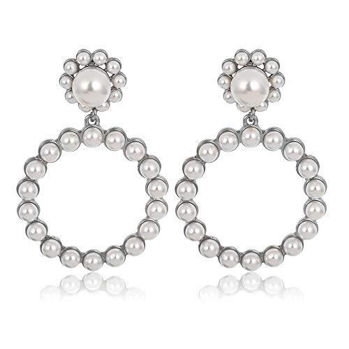 CYXL Barock Nachahmungen von Perlen, Anhänger, Ohrringe Legierung Ohrstecker Frauen Accessoires, 1 Paar (Color : Silber)