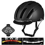 Kohyum Casco de bicicleta inteligente con 3 tipos de luces de advertencia, casco inteligente con intermitente trasero con mando a distancia inalámbrico, cómodo, ligero, transpirable e impermeable.