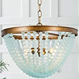 LOG BARN Beaded Chandelier, Boho Light Fixture for Dining Room, Blue Glass Beads, Antique Gold Finish, 3-Light, 15.5' D x 11.5' H