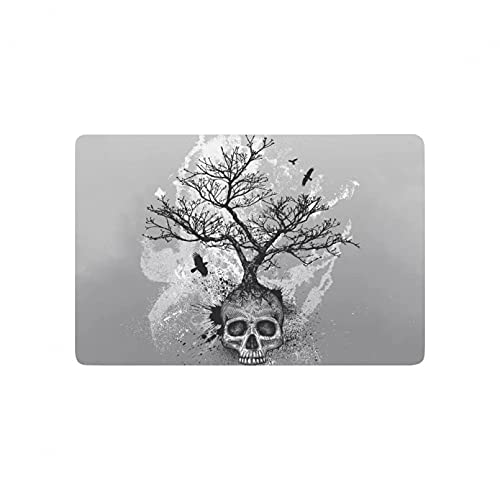 3D printed door mat carpet Skull Tree of Life Anti-Slip Door Mat Home Decor, Black and white Indoor Outdoor Entrance Doormat Rubber Backing Christmas home decoration gifts-40x60cm
