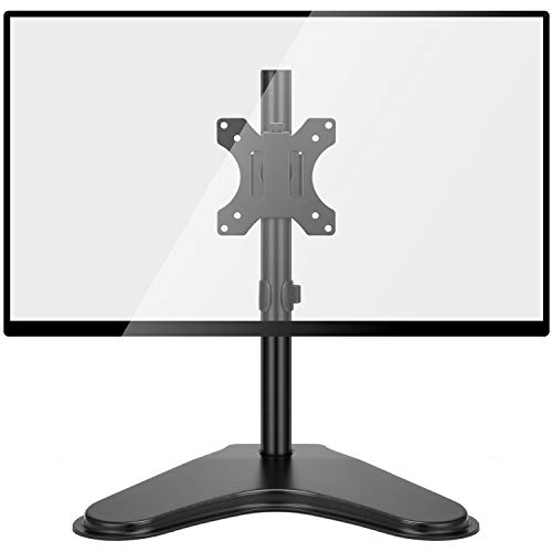 HUANUO Single Monitor Stand - Free Standing Full Motion Desk Mount Riser fits 13 to 32 inch Screens with Adjustable Height, Tilt, Swivel, Rotation
