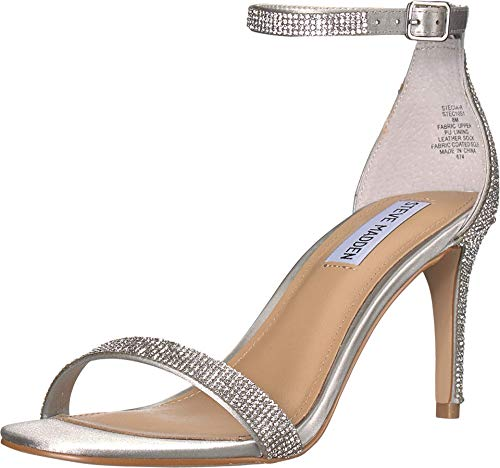 Steve Madden Women's STECIA-R Heeled Sandal, Rhinestone, 9 M US