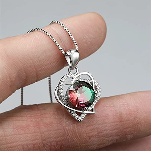 QiuYueShangMao Collar con Colgante de corazón de circonita Redonda Verde Azul para Mujer, Collar de Boda de Piedra de Cristal arcoíris, joyería de Compromiso Femenina, Regalos, Collar de Amistad