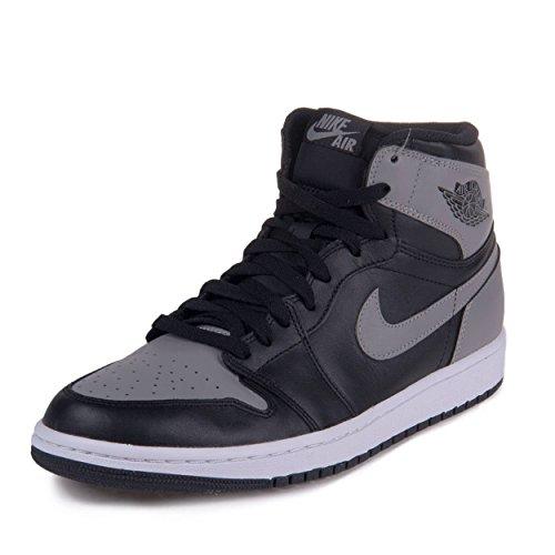 Nike Mens Air Jordan 1 Retro High OG Shadow Black/Soft Grey Leather Basketball Shoes Size 11.5