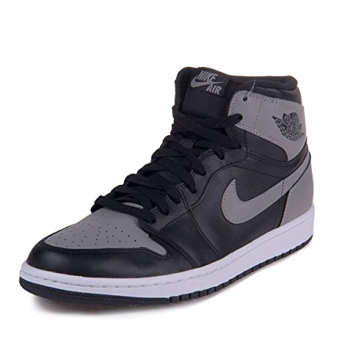 Nike Mens Air Jordan 1 Retro High OG Shadow Black/Soft Grey Leather Basketball Shoes Size 11.5