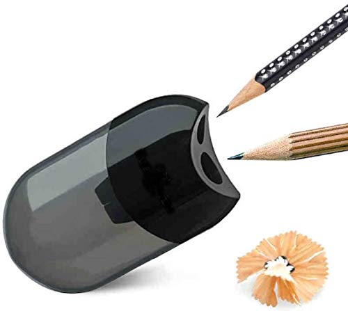 Dual and Single Pencil Sharpener Sleeve Sharpener Double Hole with Container Blacklead Pencil Sharping Tool (Random Colour) by Koksi (Double Hole)