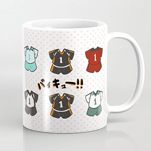 N\A Haikyuu Divertida Taza de café de 11 onzas, Novedad, Taza de té de cerámica Blanca