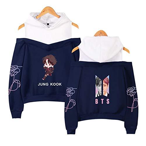 Kpop Schulterfreier Pullover Trägerloser Hoodie Cartoon Sweatshirts Damen Kapuzenpullover-A10092-RY-M