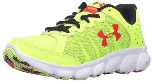 Under Armour Kids Boy's UA BGS Micro G? Assert 6 (Big Kid) High-Vis Yellow/White/Anthem Red Sneaker 5 Big Kid M