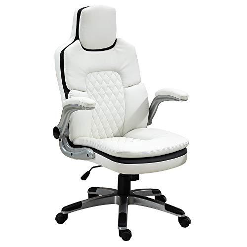 Fauteuil de bureau manager gaming style baquet racing dossier assise capitonné revêtement synthétique blanc noir
