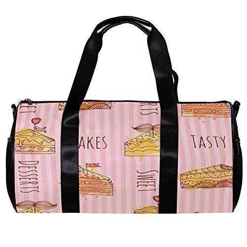 Runde Sporttasche mit abnehmbarem Schultergurt, handgezeichnete leckere Kuchen, rosa gestreift, Trainings-Handtasche für Damen und Herren