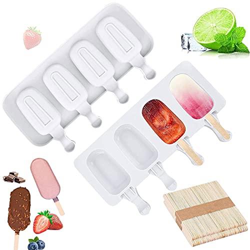 Eisformen Silikon-Form, Eis Am Stiel , Eisformen, Popsicle Formen Set , Stiel Wiederverwendbare Starter Ice Pop Molds, für Kinder und Erwachsene, Dessert, Schokolade, Bpa-Frei (4 Zellen * 2)