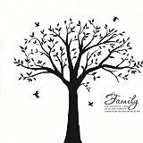 Hermosas pegatinas de vinilo extraíbles para pared de árbol genealógico con pájaros, enormes calcomanías de arte de pared de árbol blanco, decoradas en negro