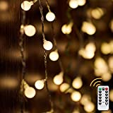 Delxo Globe String Lights with Remote, 50 LED Fairy Lights for Bedroom, Room Twinkle Lights, 8 Modes, Battery Power, Waterproof Decorative Lights for Outdoor Indoor Patio Christmas Party, Warm