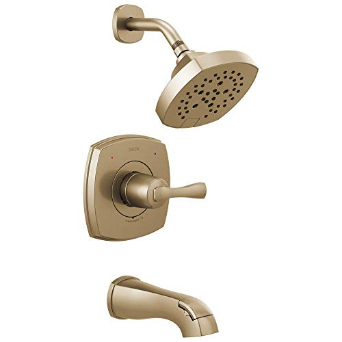Faucet Stryke 14 Series Single-Function Tub and Shower Trim Kit, Shower Faucet, Single-Spray H2Okinetic Shower Head, Champagne Bronze  (Valve Not Included) - Delta T14476-CZ