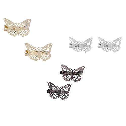 Gazechimp 3paires Pince Epingle en Alliage Métallique Creux Papillon Barette Pince à Cheveux Crocodile
