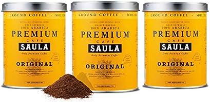 Café Saula, Pack 3 botes de 250 gr. Premium Original 100% arabica molido