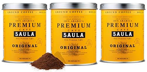 Saula Premium Gemahlener Kaffee Pack 3 Dosen mit 250 gr. Original 100% Arabica