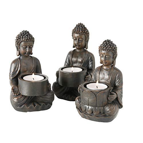 WHW Whole House Worlds Global Chic Museum Quality Baby Buddha Teelichthalter, 3er Set, antike Patina aus gegossenem Polyharz, 12,7 x 8,9 cm