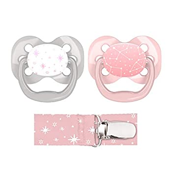 Dr Brown s Advantage Pacifier with Pacifier Clip 0-6 Months Pink 2 Count