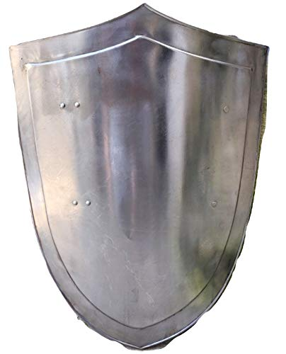 SCA Medieval Simple Heater Shield Knights Warrior Costume Silver