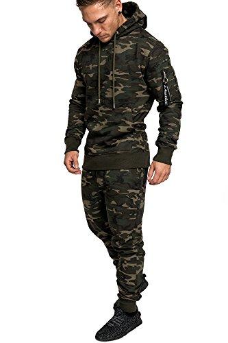 Amaci&Sons Herren Kontrast Sportanzug Jogginganzug Trainingsanzug Sporthose+Jacke 1006 Camouflage Khaki M