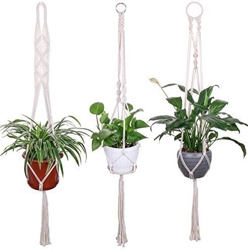 Luxbon 3 stuks macramé bloempot katoenen kabel plantenhanger plantenbak bloempot houder voor plafonds balkone Boheemse decoratie 101 cm / 40 inch, 4 poten