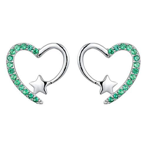 QIN White zircon cute heart bolts earrings women's wedding jewelry wine gold/silver multi-colored stone star earrings