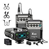 Xvive U5T2 Dual-Channel Wireless Mic for Cameras Wireless Lavalier Microphone System 2.4Ghz 1 Receiver, 2 Transmitters + 2 Lavalier Mics for DSLR/Video Cameras,Recorder,YouTube TioTok