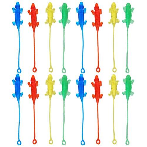 NUOBESTY 20 Piezas Lagarto Elástico Juguete Pegajoso Novedad Animal Fidget Juguete Niños Cumpleaños Fiesta Favores Regalo (Color Aleatorio)