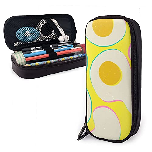 Vintage Trendy Scrambled Eggs Estuche para lápices de cuero, gran capacidad, duradero, con cremallera, para bolígrafos, estuche para lápices, almacenamiento, maquillaje, cosméticos