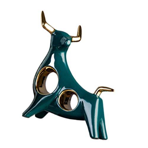 BESPORTBLE Desktop Escultura de Cerâmica Touro Boi Ornamento Figura Decorativa Estatuetas de Animais Estilo Estátua Do Ano Chinês 1