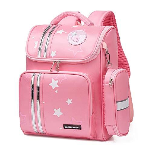 JIUFENG Schooltas voor kinderen Leuke meisjesrugzak met briefpapierzak Lichtgewicht reistas Kindertas (Roze)