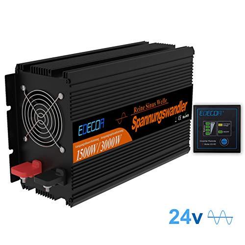 EDECOA Inverter 24v 220v Onda Pura 1500w Trasformatore di Tensione con Telecomando Convertitore di Tensione Camping Auto Converter Invertitore 24v 230v