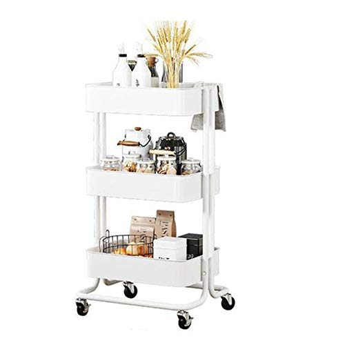 3-Tier Mesh-Mehrzweckwagen, Carbon Steel Rolllager Art Carts mit Griff, Barber Trolley Lagerung (Color : E)