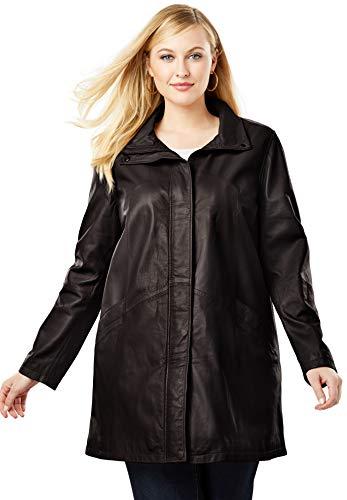 Jessica London Women's Plus Size A-Line Zip Front Leather Jacket - Black, 16 W
