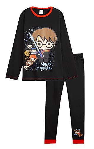 HARRY POTTER Pijama Niño y Niña, Conjunto de 2 Piezas Algodon, Pijamas Niños de Algodon 100%, Regalos para Niños y Adolescentes Edad 7-14 Años (Negro, 11-12 años)