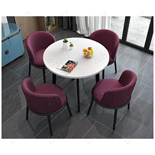 Runt matbord och 4 stolar kontor fritid bord och sits-set soffa av bomull och linne lounge-område hem fast food butik matsal västerlig restaurang bibliotek rekreationsområde 80 cm