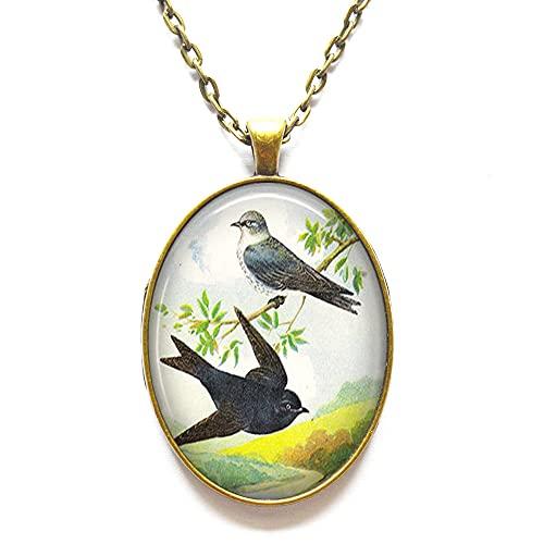 Collar de Martins morados, colgante de martines, color morado, con ilustración de pájaros, regalo para amantes de pájaros, observador de aves y golondrinas, N373