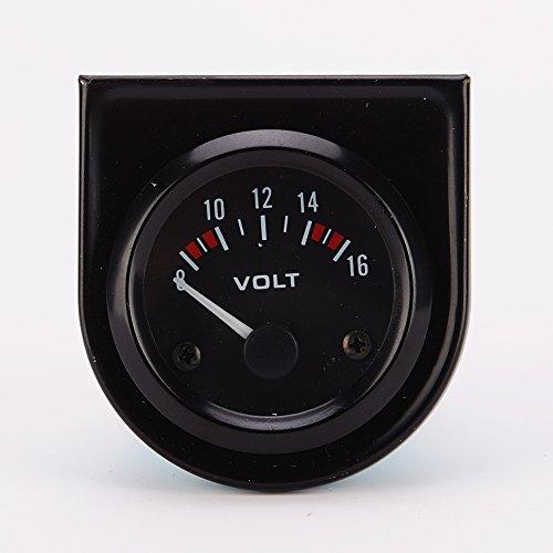 """Universal pointer12v 2"""" 52mm Volt Voltage Meter Gauge Voltmeter Car Auto Measure Range 8-16v LED Light dial Black"""