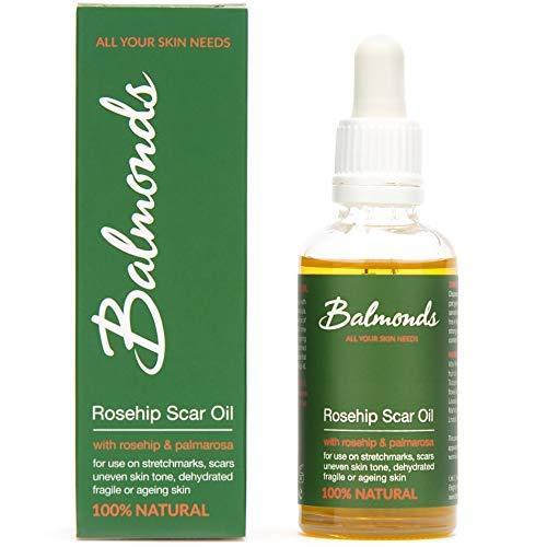 Balmonds Huile de cicatrice de cynorrhodon 50 ml Huile de traitement 100 % naturelle pour cicatrices, marques de peau, irrégularités du teint et vergetures